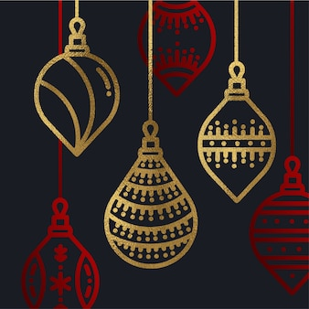 Gold and Red Christmas Ornaments Background