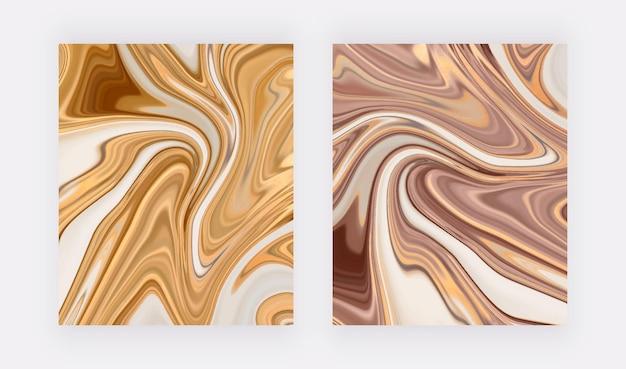 Золотая и розовая золотая жидкая мраморная текстура