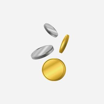 Золотые и серебряные монеты. наклоняющаяся монета. векторная иллюстрация.