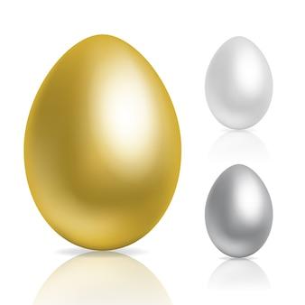금색과 은색 달걀 프리미엄 벡터