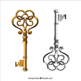 Золотые и серебряные ключи в стиле ретро