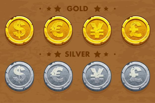 Золотые и серебряные старые монеты доллара, евро, фунта и иены.