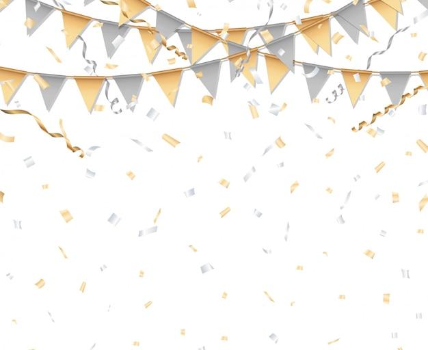 Золотой и серебряный фон партии. партийный флаг, конфетти и серпантин.