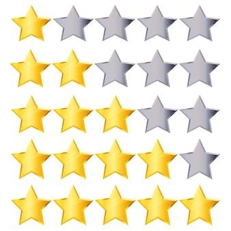 Установлены золотые и серебряные рейтинговые звезды для рейтинга отеля