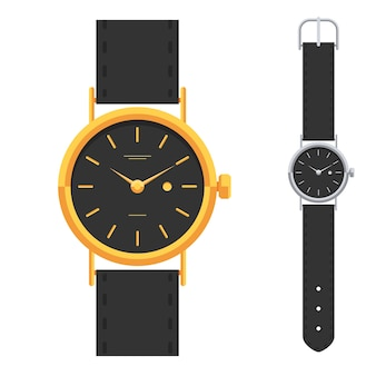 금색과 은색 시계, 클래식 한 디자인의 고급 시계 세트. 손 시계.