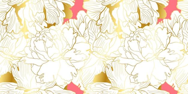 ゴールドとソフトピンクの牡丹のシームレスパターン