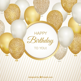 Gold and white balloons background