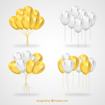 Gold and white balloons bunch collection
