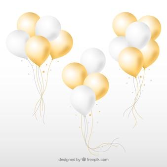 금색과 흰색 풍선 무리 컬렉션