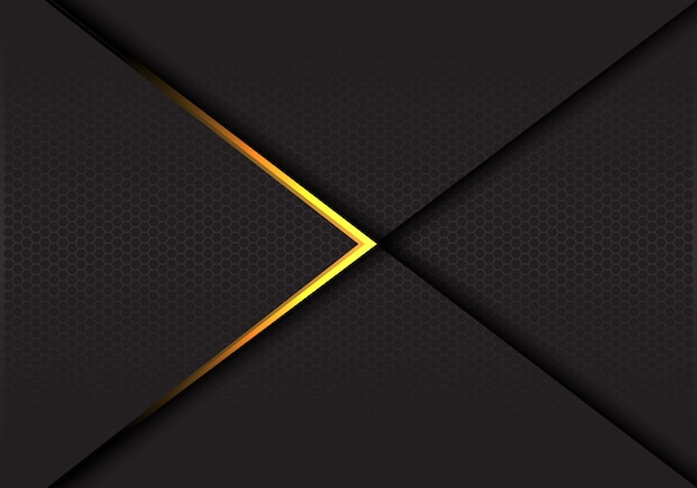 Gold arrow on dark hexagon mesh luxury background.