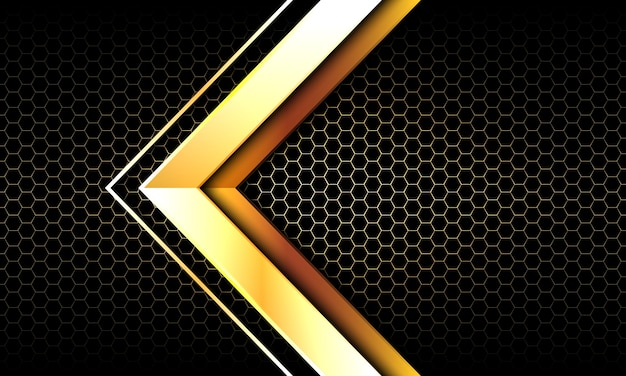 Gold arrow directi  dark hexag mesh modern luxury background.