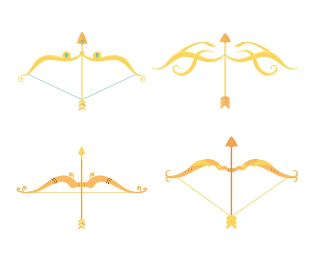 Gold arrows and bows weapon antique set icons set