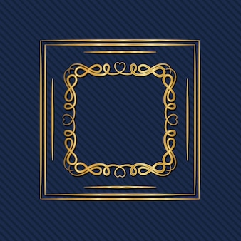 Gold art deco frame with ornament on blue background Premium Vector