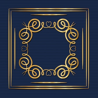 Gold art deco frame with ornament on blue background