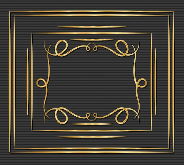 Gold art deco frame with ornament on gray background Premium Vector