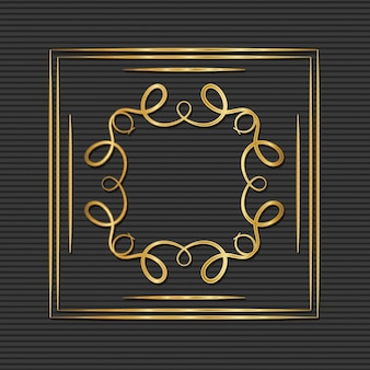 Gold art deco frame with ornament on gray background