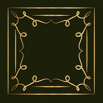 Gold art deco frame with ornament on green background