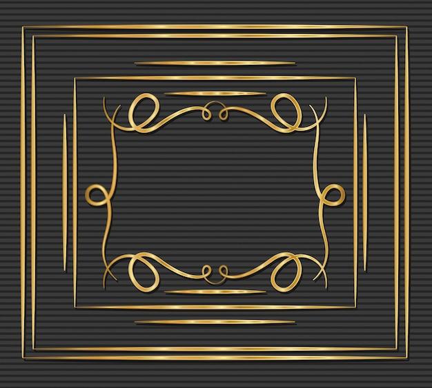 Золотая рамка в стиле арт-деко с орнаментом на сером фоне