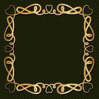 緑の背景の飾りとゴールドのアールデコフレーム