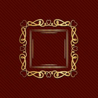 Золотая рамка в стиле арт-деко с орнаментом на красном фоне