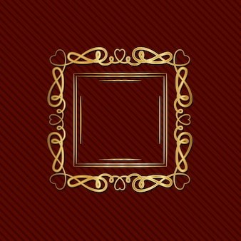 Gold art deco frame with ornament on red background Premium Vector