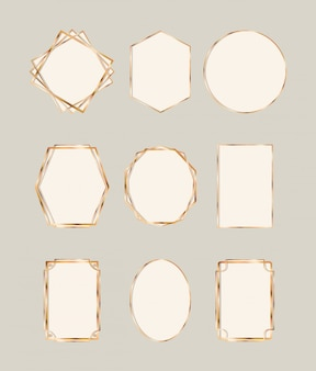 Gold art deco frames set