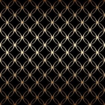Золотой арт-деко простой линейный бесшовный узор с кругами, черного и золотого цветов