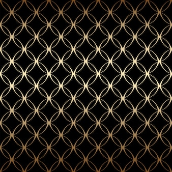 Gold art deco simple linear seamless pattern with circles, black and gold colors