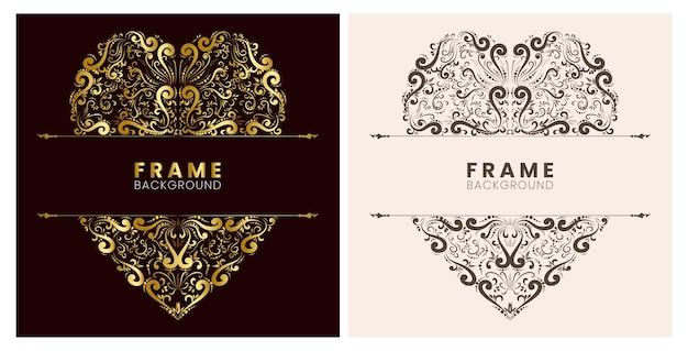 Gold art hand drawn love flower frame decoration