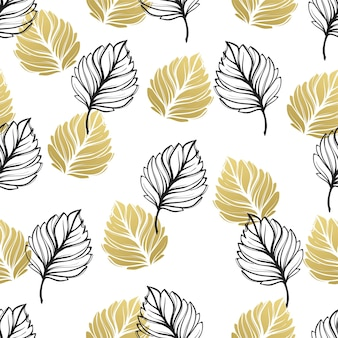 Золотая осень цветочный фон. блеск текстурированный бесшовный образец с падением золотых и черных листьев. векторная иллюстрация eps10