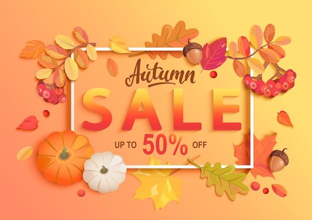 Gold autumn sale banner.