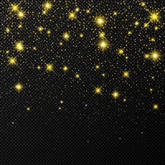 Золотой фон с блестками звезд и пыли, изолированные на темном прозрачном фоне. праздничный волшебный рождественский сияющий световой эффект. векторная иллюстрация.