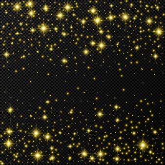 별과 먼지가 반짝이는 금색 배경은 어두운 투명한 배경에 격리되어 있습니다. 축하 마법의 크리스마스 빛나는 조명 효과. 벡터 일러스트 레이 션.