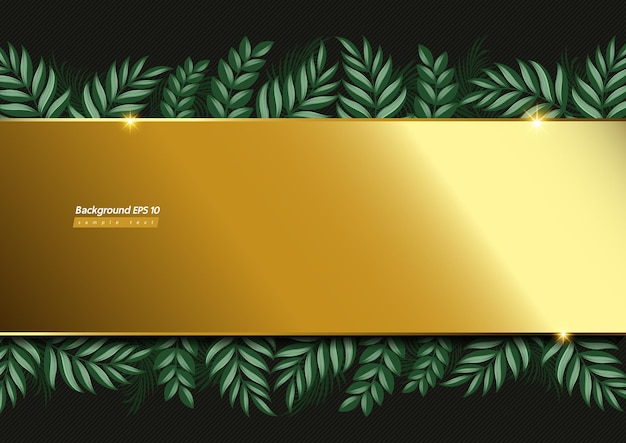 골드 배경 이미지와 진한 녹색 색상에 잎.