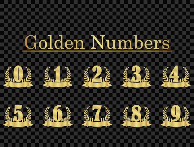 Gold background number isolated from transparent background.