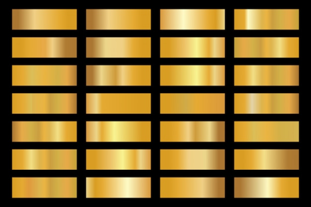 Gold background texture  icon pattern. shiny golden metal foil gradient set