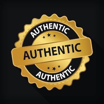 Gold badge authentic guarantee label logo