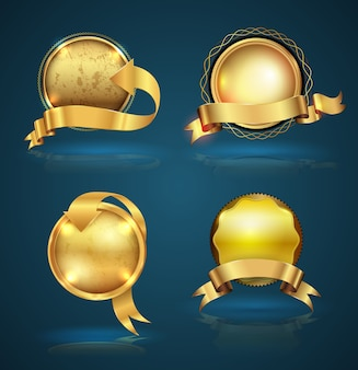 Gold badge ribbon set