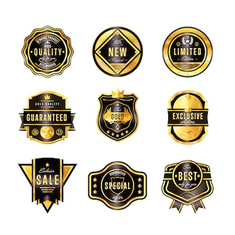 Gold badge set with black text isolated