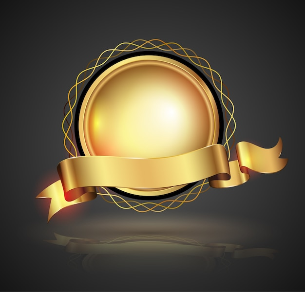 Gold badge. vector illustration.