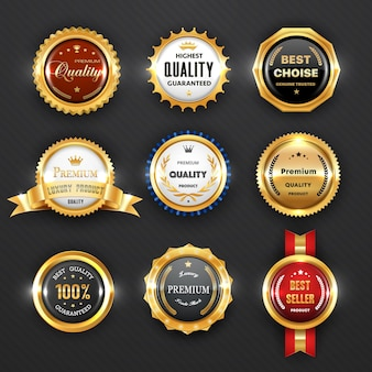 Gold badges and labels, business design. premium quality guarantee certificate, best choice product and seller award, 3d stamps, medals and ribbon rosettes with golden royal crowns, trophy cups Premium Vector