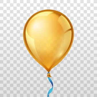 Gold balloon on transparent