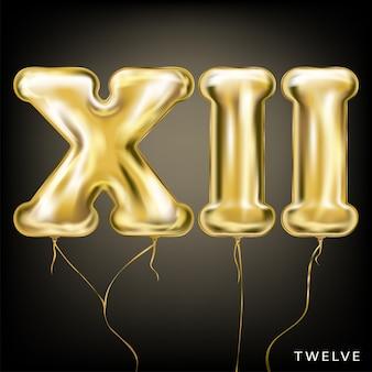 Золотой шар xii на черном фоне