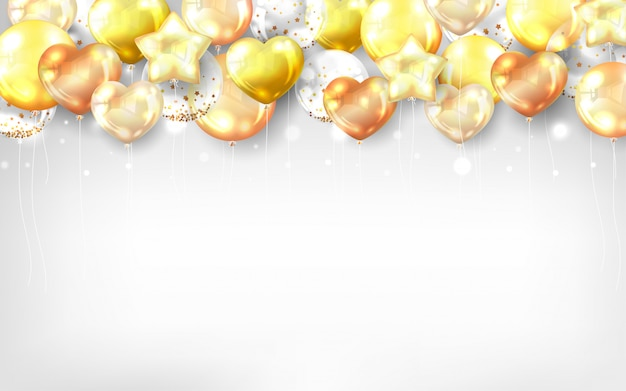 Gold balloons background for happy birthday card