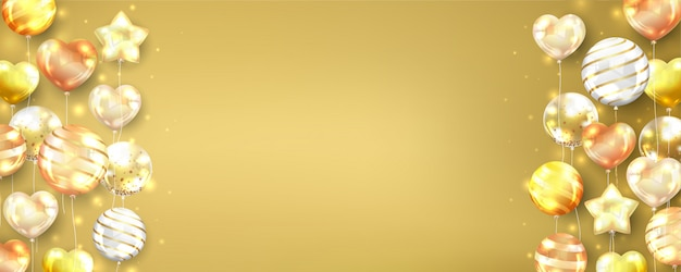 Gold balloons background horizontal with copy space.