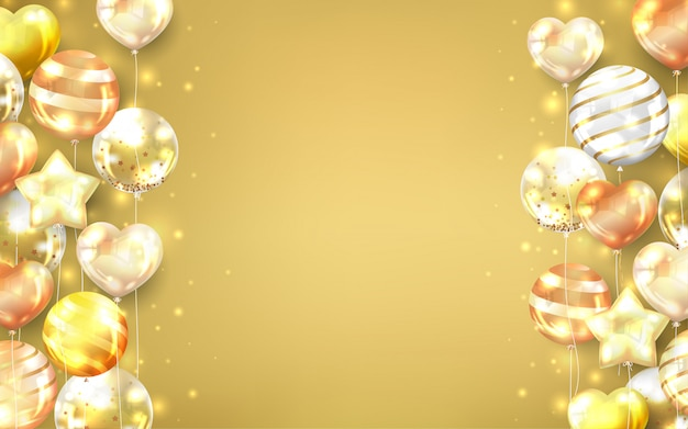 Gold balloons background with copy space