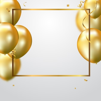 Gold balloons and confetti party background