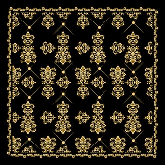 Gold bandana silk scarf.luxury golden design