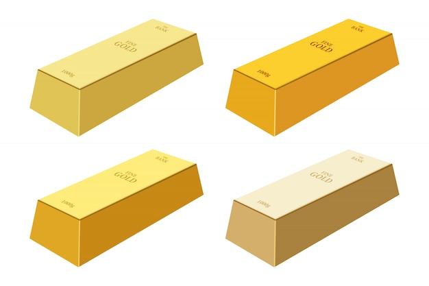 Золотой слиток дизайн иллюстрация на белом фоне