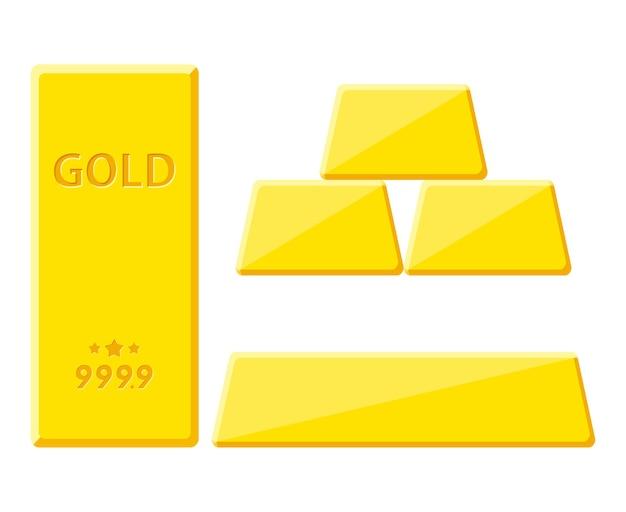 白い背景で隔離の金の延べ棒。さまざまな側面からの金地金の眺め。